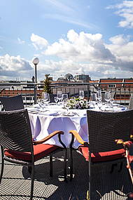 Dinner prepared by ALvis to go Eventcatering on the Roof Terrace of Hotel Allegra