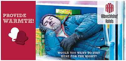 Donate and thus give a homeless person a place to stay for a night!