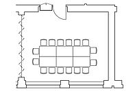 Tafel-Anordnung im Veranstaltungraum Spener oder Fliedner